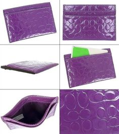 NWT Coach Embossed Liquid Gloss Card Case Iris Purple F62544 ret: $48. AUTHETIC