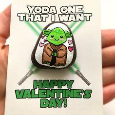 Yoda Valentine's Day Card | Star Wars Valentine | Valentine Stone | Love Rocks | Painted Stone | Valentine's Pun | Nerdy Valentine