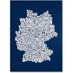 Trademark Art 'navy-Germany Regions Map' Canvas Art by Michael Tompsett, Size: 14 x 19, Multicolor