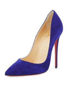 So+Kate+Suede+120mm+Red+Sole+Pump,+Purple+by+Christian+Louboutin+at+Neiman+Marcus.