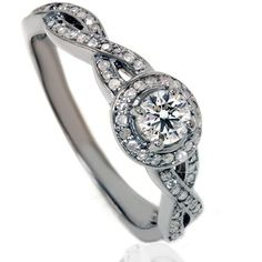 """Infinity Micropave Gray & White Diamond Engagement 1.00CT Ring 14K Black Gold Size (4-9). $799.00, via Etsy....In the words of Rachael Zoe """"I Die!"""""""