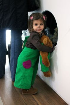 Super cute Corduroy overalls from an Etsy shop, but you could easily DIY this costume, and you only need one button! Adorable, classic, easy. Done.