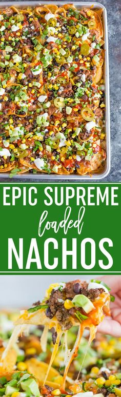 Epic Supreme Loaded Nachos :: The absolute epitome of loaded nachos. a mixture of tortilla and corn chips topped with tons of cheese and all of the best toppings you could imagine! Mexican Dishes, Mexican Food Recipes, Beef Recipes, Cooking Recipes, Ethnic Recipes, Skillet Recipes, Skillet Meals, Cooking Tools, Family Recipes