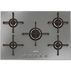 Smeg PV175S Linea 75cm Wide 5 Burner Gas-on-glass Hob - Silver