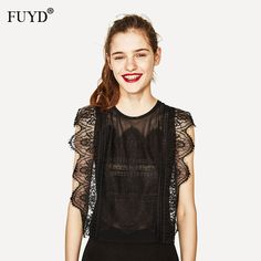 >> Click to Buy << Lace Up Shirt For Women Elegant Lace Blouse Vintage Black Sleeveless Ruffles Blouses 2017 Summer Casual Transparent Korean Tops #Affiliate