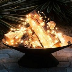 Fairy Lights In Brazier - Pinterest Garden Diys