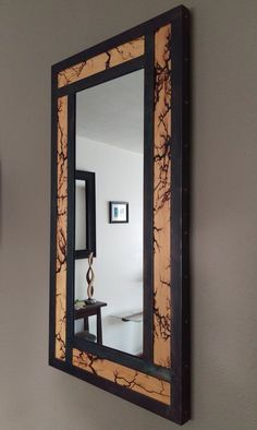 Metal Framed Wall Mirror with Lichtenberg Patterns - Rustic Vanity Mirror, Metal and Wood Wall Decor -Steel and Fir Small Vanity Mirror, Metal Mirror, 30 Vanity, Spiegel Design, Rustic Vanity, Into The Woods, Steel Furniture, Industrial Furniture, Rustic Furniture