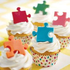 Puzzle Piece Cupcakes-perfect for Autism Awareness Month!