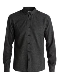 Quiksilver Mens Turfman - Long Sleeve Shirt Shirt Black Xxl. Long sleeve shirt. Marl flannel fabric. Slim fit. Button-down collar.