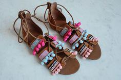 DIY Pom Pom Sandals