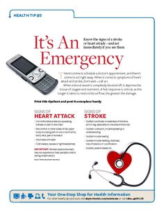 [Printable] Know the signs of a #stroke or #heart attack and act immediately if you see them. Print this symptom guide and have it near by. #BaylorHealth via @Baylor Health Care System