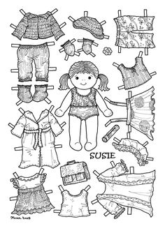 Karen`s Paper Dolls: Susie Paper Doll to Colour. Paper Doll Craft, Paper Doll House, Doll Crafts, Paper Toys, Paper Doll Template, Paper Dolls Printable, Colouring Pages, Coloring Books, Adult Coloring