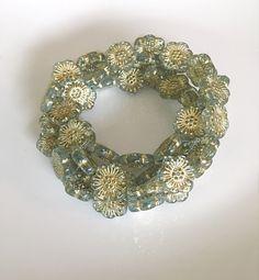 NEW Smokey Blue Flower Czech Glass Beads Blue Gold Picasso Flower Beads Czech Beads Czech Flower Beads 18mm (2 pcs) 7V1