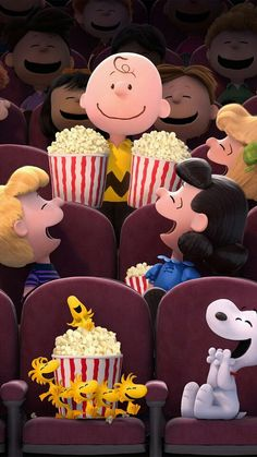 Snoopy friends and popcorn