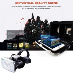 Riem 3 Virtual Reality 3D VR Glasses Head Mounted Headset APE for 3.5 - 6 inches screen smartphone