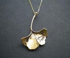 Gold ginkgo leaf necklace by BelleFleurJewelry, $23.00 If only it was in silver!!! <3 Ginko leaves