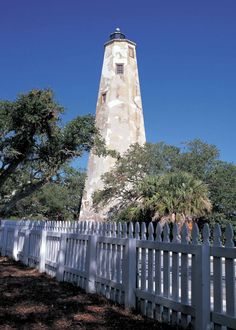 The Bald Head Island Lighthouse was built in 1817. The 110-foot tower is an octagon with walls five feet thick at the base and is open for tours.
