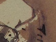 """Ce détail d'un dessin de Victor Hugo représente le sein d'une femme qui émerge d'une mante, ou d'un """"foulard pour cachemire"""" - Lié au poème """"Interruption à une lecture de Platon"""", du recueil """"Les Chansons des rues et des bois (I. Floréal)"""" de ce même Victor Hugo."""
