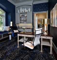 Patterned navy rug in home office - Designer: Carla Aston, Photo by Miro Dvorscak, Traditional Home Offices, Traditional Home Magazine, Traditional House, Traditional Kitchens, Home Office Space, Home Office Design, Design Desk, Library Design, Office Spaces