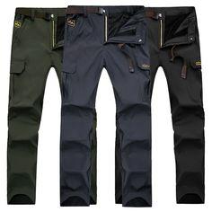Sale 30% (34.99$) - Spring Men\'s Outdoor Mountaineering Pants Uphill Walks Waterproof Windproof Warm Breathable Trousers