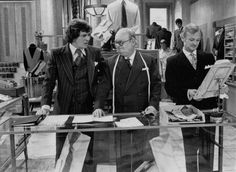 A still from one of the most successful BBC comedies of all, Are You Being Served? written by David Croft and Jeremy Lloyd. It ran from 1972 to Pictured are Trevor Bannister Arthur Brough and John Inman British Sitcoms, British Comedy, Are You Being Served, Color Television, Comedy Tv, Great Tv Shows, First Novel, Classic Tv, Historical Fiction