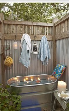 Gonna make and outdoor shower and this tub on my roof cant wait to take a bath under the stars