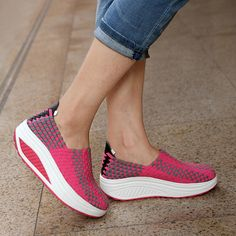 Knitted Swing  Women Sport Breathable Platform Slimming shoes  https://www.stylishntrendier.com/