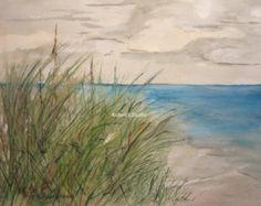 La playa impresión de Original acuarela paisaje pintura arte
