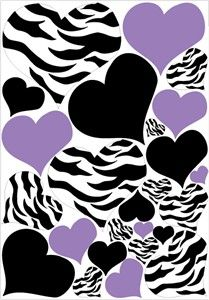 """The Zebra Print, Black, and Purple Heart Wall Stickers are striking yet simple. There are 25 individually cut out Heart wall stickers in three designs, Zebra Print, Purple and Black. The largest Heart is a Zebra print heart that measures about 10"""" by 9"""". The others are in various sizes with the smallest hearts measuring about 2""""."""