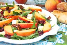 ValSoCal: Arugula and Peach Salad with White Cheddar