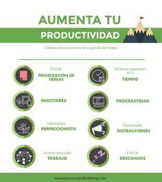 Infografía Aumenta tu productividad eliminando estos 8 errores de la gestión del tiempo
