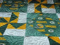 becky's greenbay packer's quilt by quilting square one, via Flickr