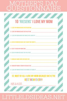 10 Riesens I Love My Mom Questionnaire