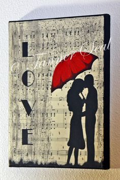 "Music is Love ~ Acrylic Canvas Painting 8X10"" Great wall decor or gift! Piano sheet music with romantic couple in front. Red umbrella! https://www.etsy.com/shop/SpotlightArtbyTHS This piece showcases the love that music can show our most intimate feelings, such as love. It highlights black, white, and red colors. This would make a great gift for yourself, the music lovers in your life, or even that special someone!"