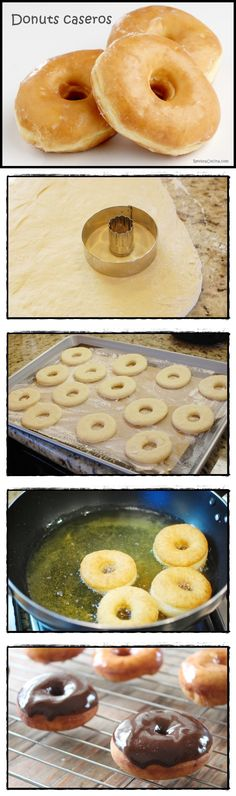 Donuts caseros Más - Recipes, tips and everything related to cooking for any level of chef. Donut Recipes, Mexican Food Recipes, Sweet Recipes, Dessert Recipes, Cooking Recipes, Delicious Desserts, Yummy Food, Pan Dulce, Cupcake Cakes