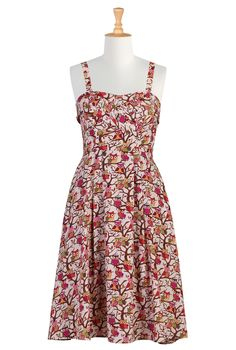 White dress with narrow straps, crossover pleated panels at neckline, and allover print of owls sitting on tree branches | eShakti