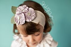 Lavender Silk Poppies Snugar headband hair band girls by snugars, $32.00