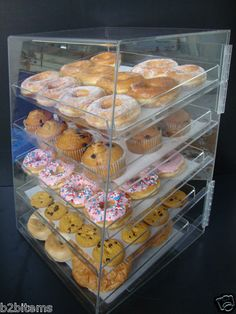 Breakfast pastry Display - Acrylic Pastry Bakery Donut Bagels Cookie Display Case with trays CUPCAKE stand. Food Trucks, Pastry Display, Cookie Display, Bakery Display Case, Cupcake Display, Pastry And Bakery, Pastry Shop, Bakery Kitchen, Cupcake Shops