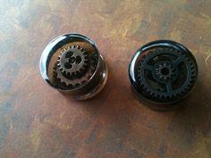 "7/8"" Stainless Steel Resin Reversible Steampunk Gear Plugs. $30.00, via Etsy."