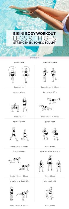 Work your hips, quads, hamstrings and calves with these 10 leg and thigh exercises for women. This lower body workout is designed to strengthen your muscles, tone your thighs and sculpt your legs! http://www.spotebi.com/workout-routines/legs-thighs-bikini