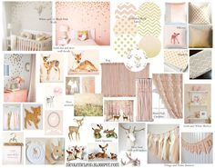 blush pink and gold baby girl nursery baby deer spotted fawn bambi chic sweet soft light pink deer bust metallic gold confetti wall decal banner custom name white changing table fabric decal gallery wall art print antlers wood wooden bust tissue tassel garland antique mood board design crib sheets bedding changing pad cover boppy pillow case figurines