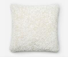 Ribbon Shag Pillow - Ivory