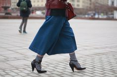 30 Transitional Outfits From Russian Fashion Week #refinery29  http://www.refinery29.com/2015/04/84890/russia-fashion-week-fall-2015#slide-11  Socks under Mary Janes make a look cozier.