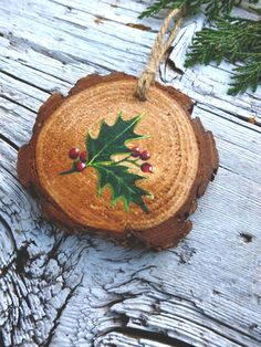 Holly Sprig: Rustic Tree Ornament by AliceCEades on Etsy