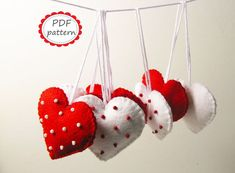 PDF PATTERN: felt heart ornaments Polka dot - Red White - DIY decors sewing tutorial instructions - Christmas Valentine Wedding ornaments
