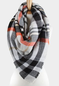 Gray Plaid Checkered Blanket Scarf – Kindred Jewelleria