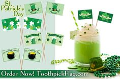 Celebrate St. Patrick's Day with festive toothpick flags! We have lucky shamrocks, clovers, green beer, and much more!  ORDER NOW to ensure timely delivery! Visit toothpickflag.com to place your order, or call us at 800-962-0956 for custom printed toothpick flags.  #ToothpickFlag.com #StPatricksDay