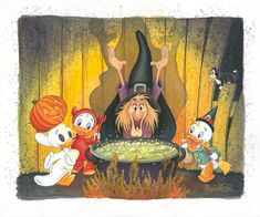 """Disney Fine Art: """"Trick or Treat"""" by Michelle St. Disney Halloween, Disney's Halloween Treat, Halloween Arts And Crafts, Fall Halloween, Halloween Drawings, Halloween Pictures, Halloween Illustration, Disney Duck, Disney Love"""