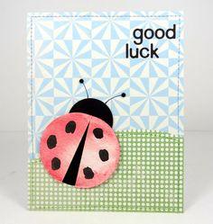 Watercolor ladybug good luck card