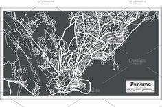 #Panama #City #Map in #Retro #Style.  by Igor Sorokin on @creativemarket